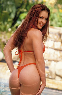 Victoria Red Poolside In Red Bathing Suit